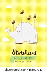 elephant flying with bird poster template vector/illustration / background/ greeting card
