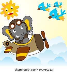 elephant flying with plane in the sky meet with flock of birds, t shirt design and wallpaper, vector cartoon design