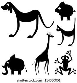 Elephant, frog, giraffe, pig, cat & dog silhouette