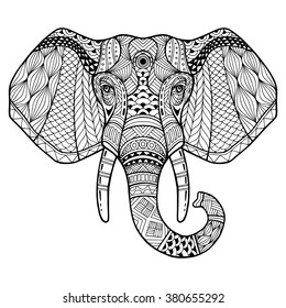 Elephant from the front with two tusks. Elephant head painted tribal ethnic ornament. African, indian, arab design. It may be used for design of a t-shirt, bag, postcard, a poster, banner. Logo. Icon