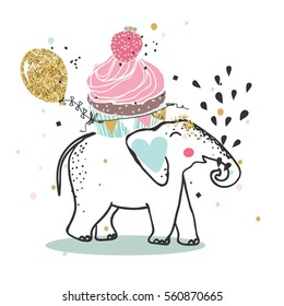 elephant with giant cupcake