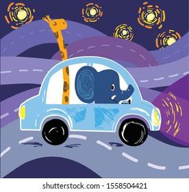 Elephant and giraffe driving car, vector cartoon illustration. Vector stock grafic