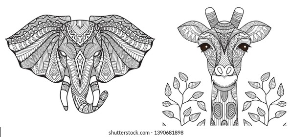 Elephant and giraffe heads collection for print on product and adult coloring book, coloring page,tattoo and so on. Vector illustration