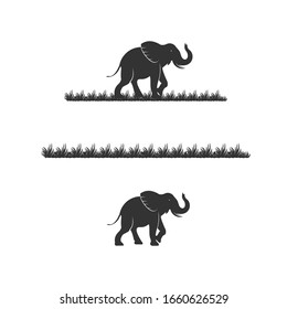 elephant and grass in black color vector