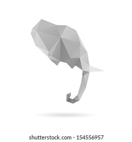 Elephant head abstract isolated on a white backgrounds, vector illustration