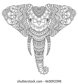 Elephant head. Adult antistress coloring page. Black white hand drawn doodle animal. Ethnic patterned vector.