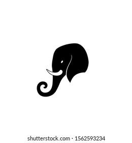 Elephant head black logo isolated vector design