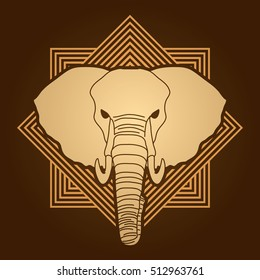 Elephant head front view designed on line square background graphic vector.