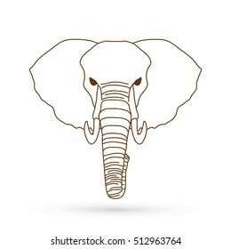 Elephant head front view outline graphic vector.
