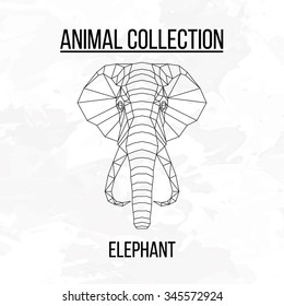 Elephant head geometric lines silhouette isolated on white background vintage vector design element illustration