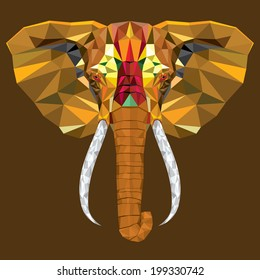 Elephant  head with geometric pattern- Vector illustration
