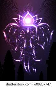 Elephant Head Hindu God Ganesha Glowing Spirit Portrait between Palm Trees Foliage and Indian Temple Silhouettes Vector Art Illustration