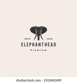 elephant head logo hipster retro vintage vector icon illustration