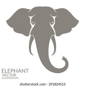 Elephant head. Logo. Isolated animal on white background