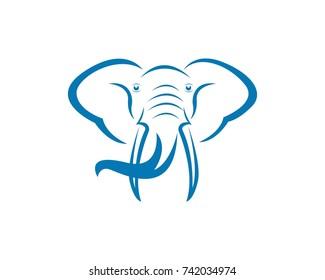 Elephant head Logos vector