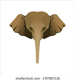Elephant head vector cartoon illustration