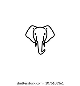 elephant head vector icon