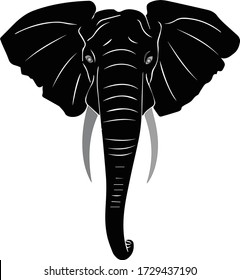 Elephant Head Vector Illustration Black & Gray with white Background