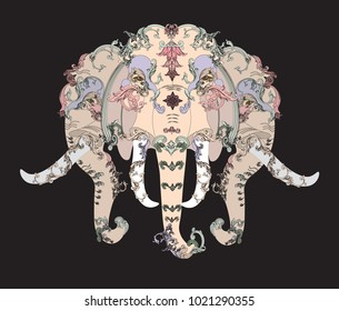 Elephant head with vintage style pastel leaves,vector,illustration