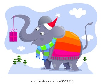 Elephant holding a gift - vector