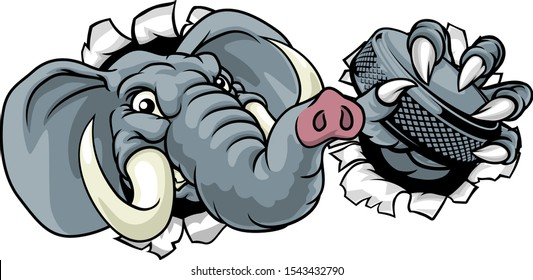 An elephant ice hockey player animal sports mascot holding a puck