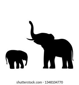 elephant with elephant icon,vector illustration