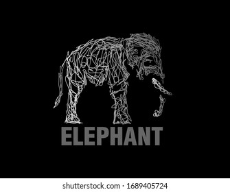 elephant illustration with scribble art or digital hand drawn for background or t-shirt design