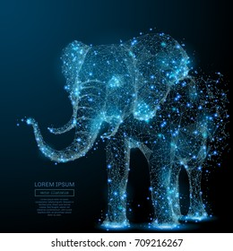 Elephant isolated from low poly wireframe on dark background. Vector polygonal image in the form of a starry sky or space, consisting of points, lines, and shapes in the form of stars and the universe