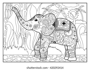 Elephant In Jungle Coloring Page Mandala Style Horizontal Outlined