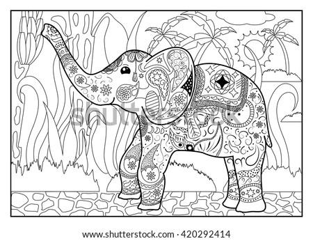 Elephant Jungle Coloring Page Mandala Style Stock Vector (Royalty ...