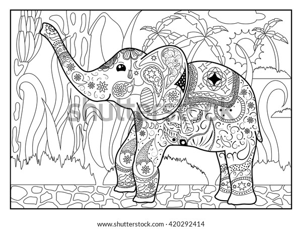 - Elephant Jungle Coloring Page Mandala Style Stock Vector (Royalty Free)  420292414