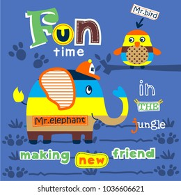 elephant in the jungle funny animal cartoon,vector illustration