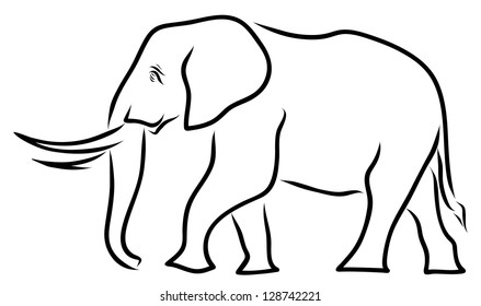 Elephant Line Art