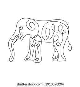 Elephant Line Art vector illustration, Abstract Line Minimalist Wall Art