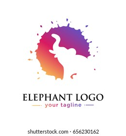 ELEPHANT LOGO. animal logo with gradation concept