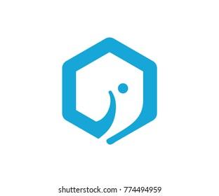 elephant logo design icon vector. hexagon logo