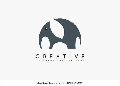 Elephant logo design vector illustration. Elephant icon design. Suitable for Business and Animal wildlife logos, Isolated on white background