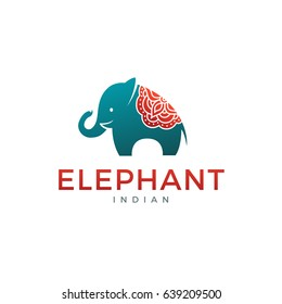 Elephant logo, label, icon design. Abstract elephant silhouette template with mandala on his back. Vector illustration.