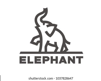 Elephant logo template, linear style. Vector format, available for editing. Black and white version on white background.