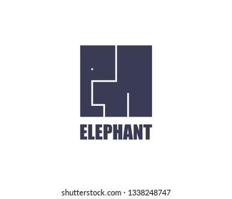 Elephant logo template. Modern cube flat design. Africa wild animal safe vector