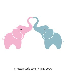 Elephant in love with love sign - Vector
