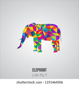 Elephant low poly design. Vector illustration