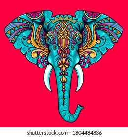 elephant mandala decoration design vector
