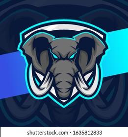 elephant mascot esport logo design