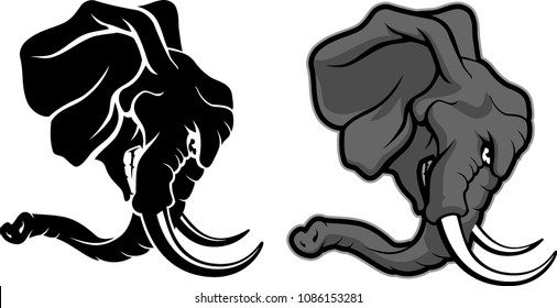Elephant Mascot Head in different variations