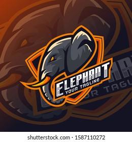 Elephant mascot, head esports logo design template