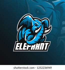 elephant mascot logo design vector with modern illustration concept style for badge, emblem and tshirt printing. angry elephant illustration with feet up.