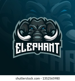 elephant mascot logo design vector with modern illustration concept style for badge, emblem and tshirt printing. angry elephant illustration for sport team.