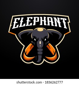 Elephant mascot logo design vector with modern illustration concept style for badge, emblem and gaming. Angry  Elephant illustration for e-sport team