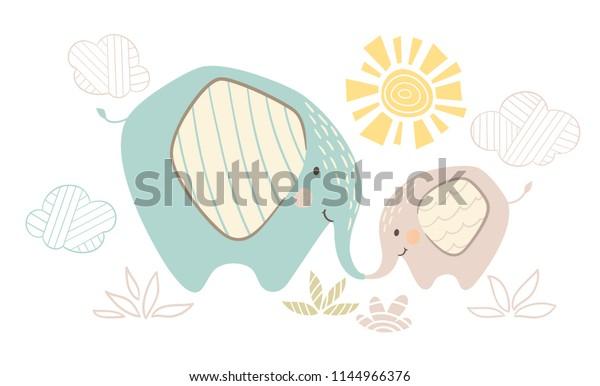 Vector De Stock Libre De Regalias Sobre Madre Elefante Y Bebe Tierno Dulce1144966376
